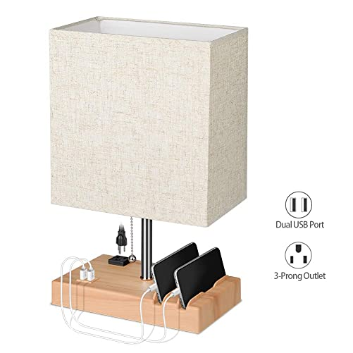 USB Table Lamp ETEKYER Bedside Desk Lamp with Convenience Phone Stand Modern Fabric Shade Nightstand Table Lamps with Pull Chain Switch USB Port and Power Outlet Beige
