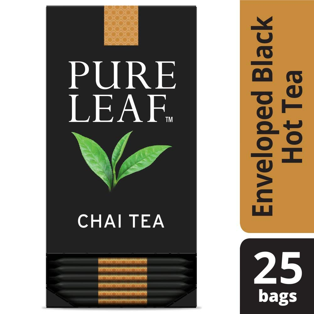 Pure Leaf Chai Enveloped Hot Tea Bags Origin: Sri Lanka and Kenya, Made with Tea Leaves Sourced from Rainforest Alliance Certified Farms, 25 count, Pack of 6