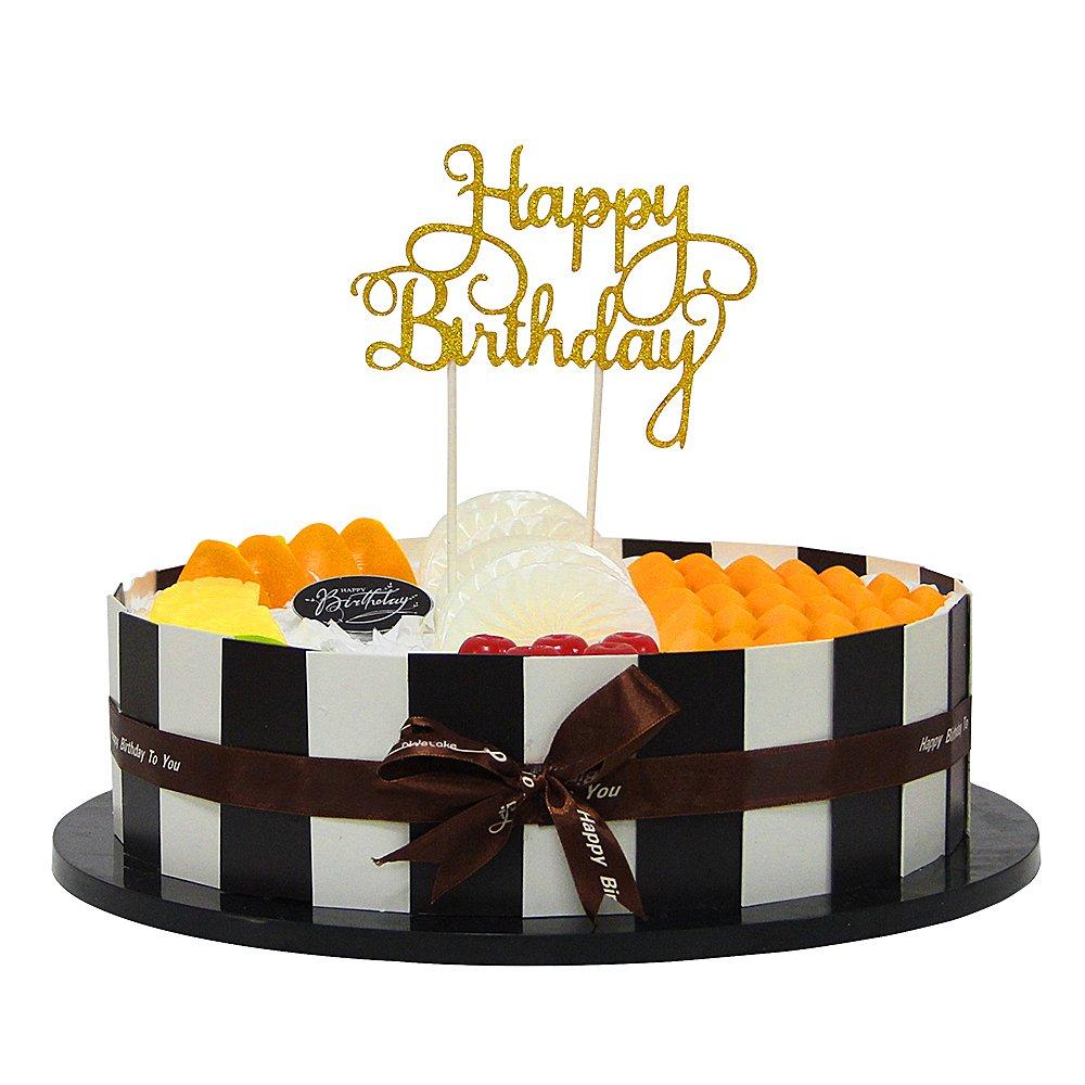 Amazon.com: palasasa Happy Birthday Cake Toppers. Sparkling ...