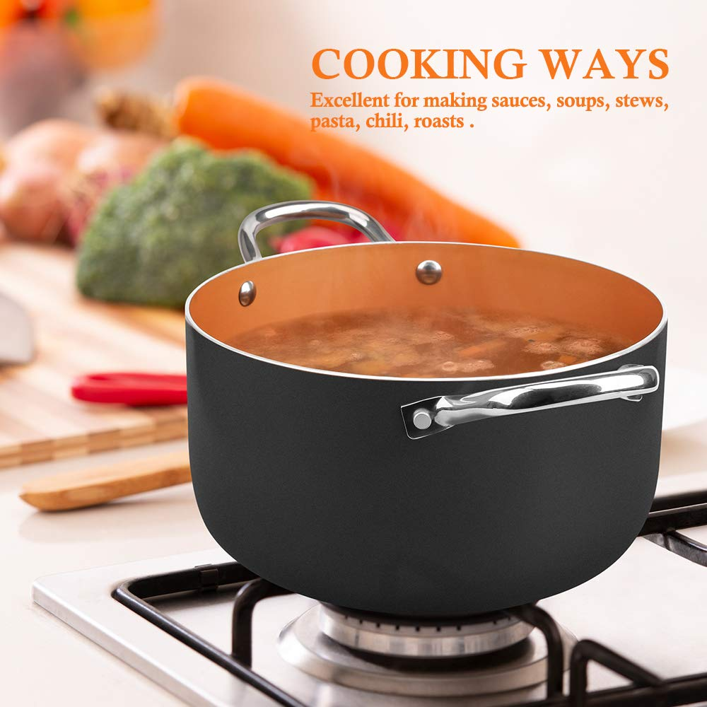 Nonstick Ceramic Mini Sauce Pan Stew Sauce /& Reheat Food Cooking for Soup Perfect for 1 Person Meal SHINEURI 1.5 Quart Copper Saucepan Gas,/Electric//&/Stovetops Compatible/for/Induction
