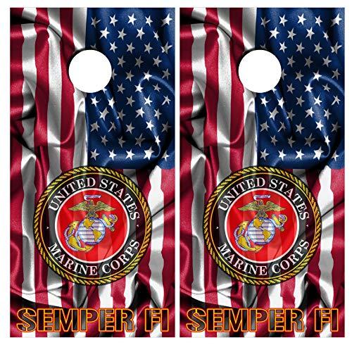 Cornhole Wraps USMC Marines Vinyl Decal Set Police - Usmc Decal Sticker