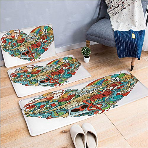 3 Piece Non-Slip Doormat 3D Print for Door mat Living Room Kitchen Absorbent Kitchen mat,Music Present Boxes Swirls Balloons Ring Marry,15.7