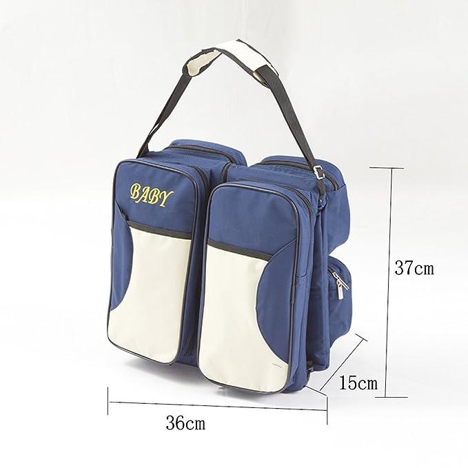 Adoraland LovelyBaby 3 en 1 - Bolsa de Pañales Multifuncional Bebé Portátil Plegable Bolsa Bebé Cuna Bebé Cuna Saco de Viaje Bolso Azul