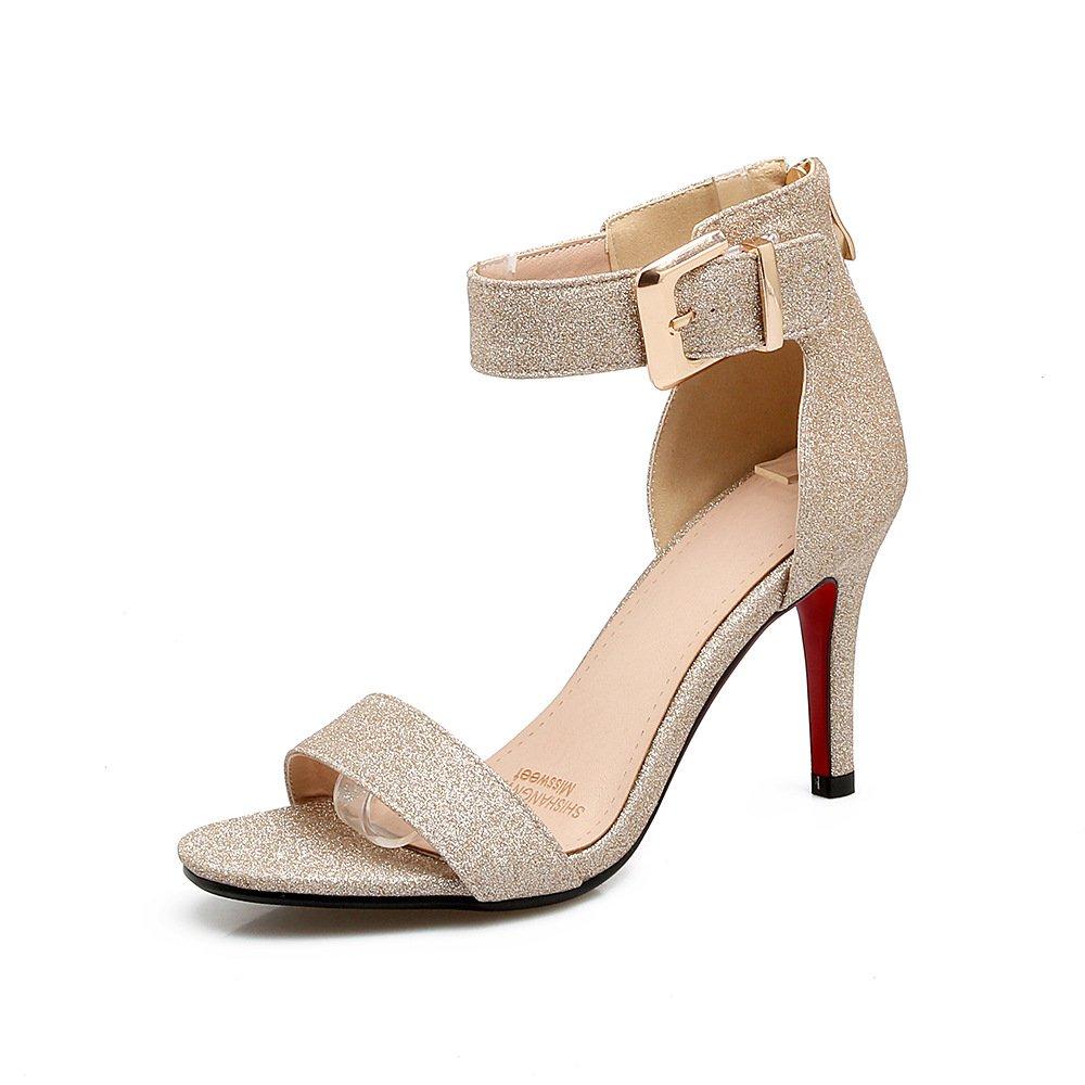 QIN&X Damens's Peep Toe Stiletto Heels Sandalen Sandalen Sandalen Golden 068741