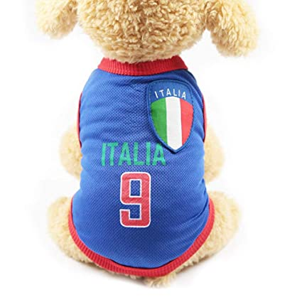 b2e9a4680ea Domccy Italian Football Team 9 Jersey Pet Clothes Pet Clothing Pet Vests  with The Countries Logo