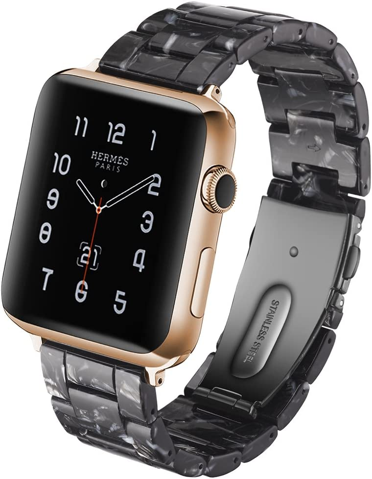 YSSNH Resin Band Compatible Apple Watch Band 38mm 40mm 42mm 44mm Men Women iWatch Series 4 3 2 1 Band, Replacement Lightweight Waterproof Fashion Strap with Stainless Steel Buckle 2019