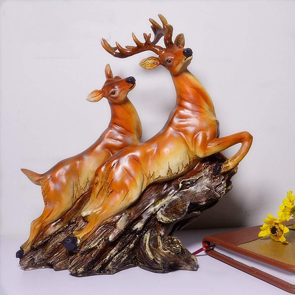 AOTEe Statua del Giardino, Decorazione del Giardino dei Cervi di Salto Adatta a Materiale Impermeabile Esterno e Impermeabile della Resina 25.5  11.5  28cm,A