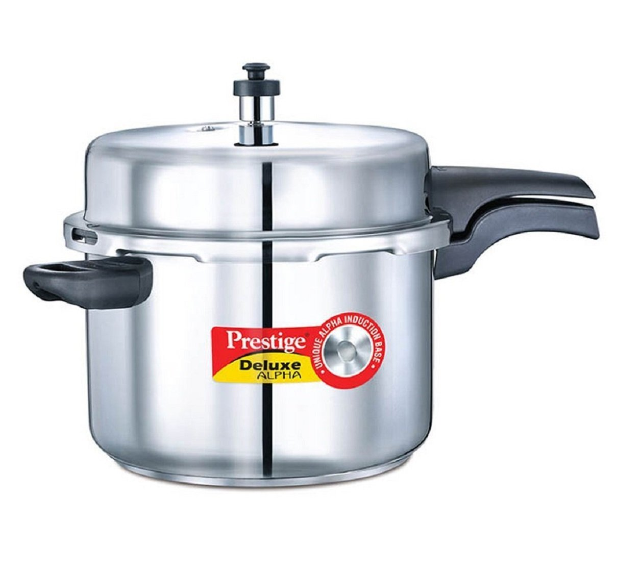 Prestige 8-Liter Deluxe Alpha Induction Base Stainless Steel Pressure Cooker, Small, Silver