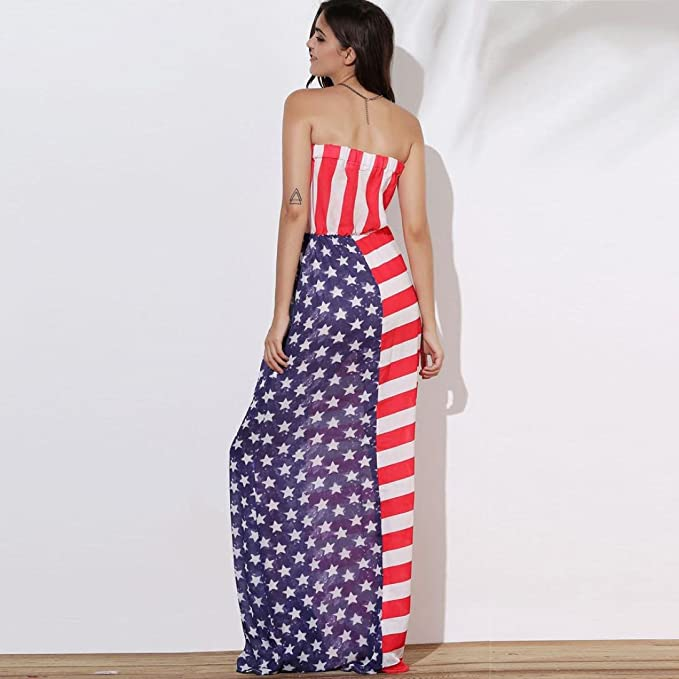 Dress, kaifongfu Women National Flag Print Off The Shoulder Sleeveless Long Maxi Casual Pleated Wrapped Beach Dress at Amazon Womens Clothing store: