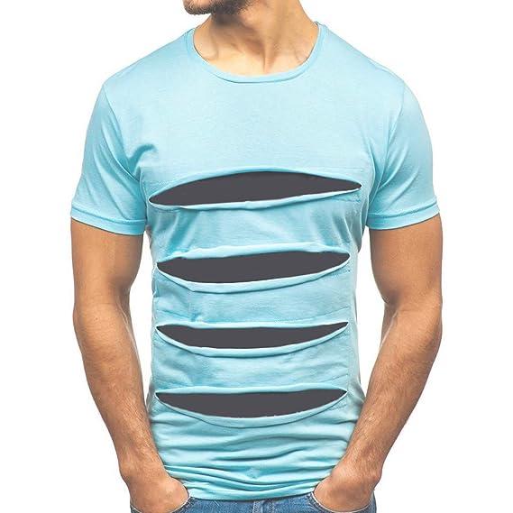 de785d761 Camiseta para Hombre, Verano Manga Corta Roto Patchwork Moda ...