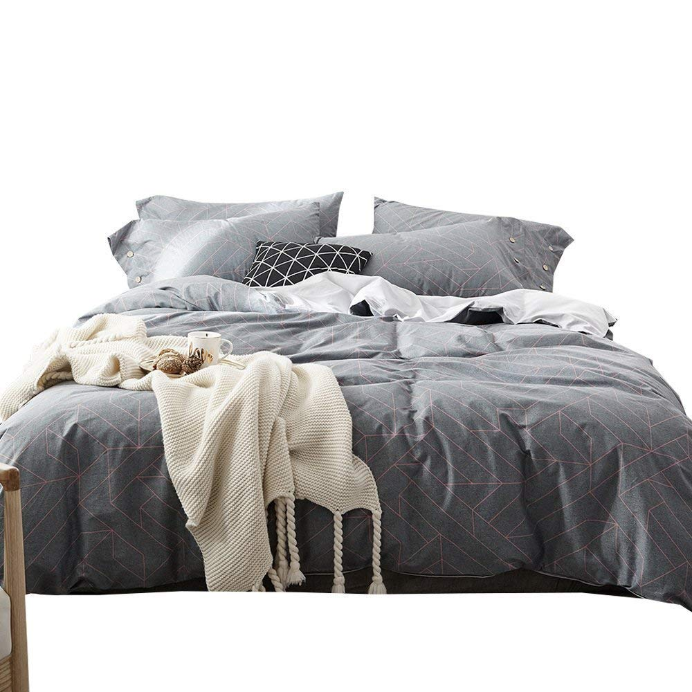 Boys Striped Pattern Bedding Sets Queen Full Duvet Cover Set Multi Colored 3 Piece for Men Kids Adults Girls Teen Bedding Gift Sets with 2 Pillow Shams Cotton 100 Percent Home Textile Decor, Grey