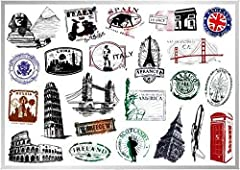 [Let's express your personality in various places. Do not think too much. Everything is expressed in your present actions.]   ▶Product Name: World Monument Landmarks Stickers 23pcsTravel Pyramid Sphinx Pisa Italy France Big Ben London Bridge...
