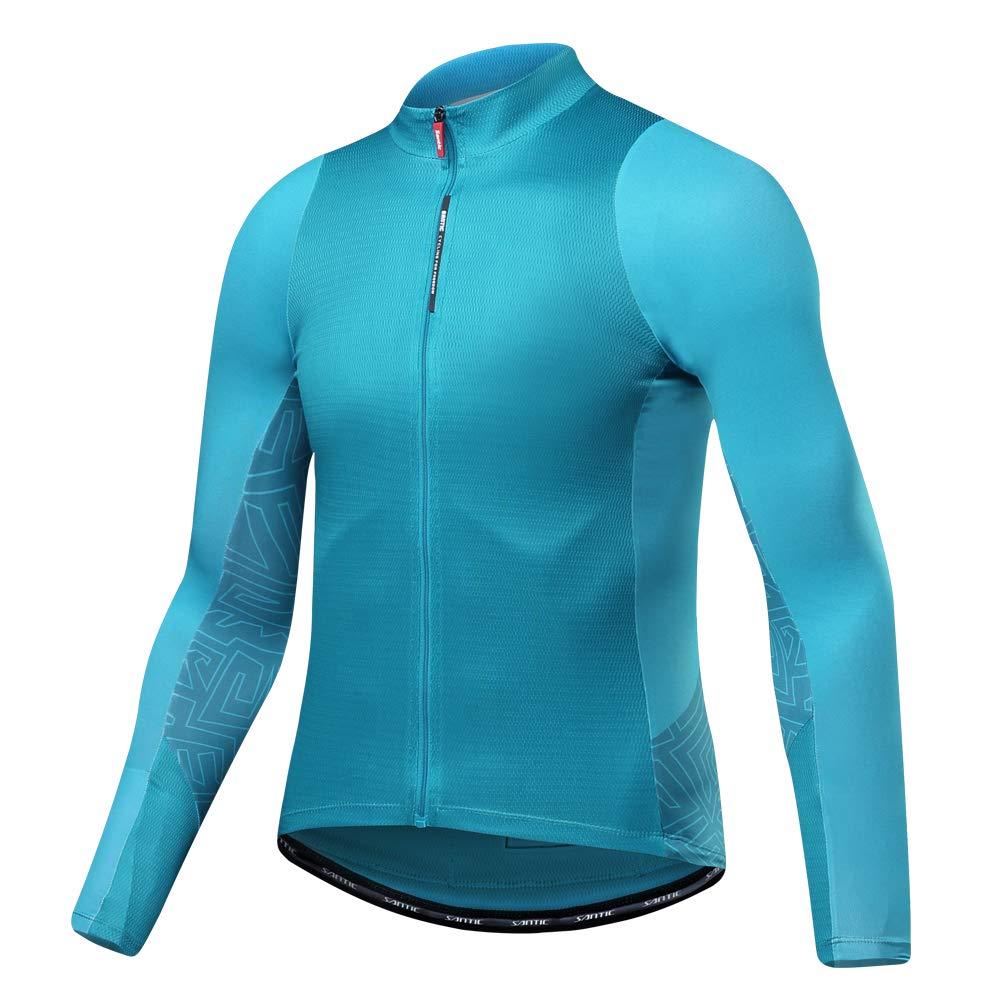 e789470a456 Santic Men s Long Sleeve Cycling Jersey Bicycle Jacket Pockets Full Zipper  Bike Biking Shirts