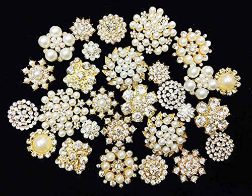 LOVEKITITY 20 Mixed Gold Flat Back Button Crystal/Pearl Rhinestone Bling Embellishment Button - Brooch Bouquet Wedding Jewelry Hair Bows Cake Decoration ()