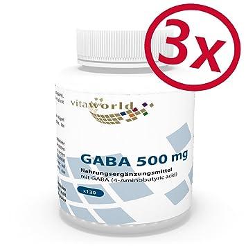 Pack de 3 GABA 500mg 3 x 120 Cápsulas Vita World Farmacia Alemania - Ácido Gamma Amino Butírico -: Amazon.es: Salud y cuidado personal