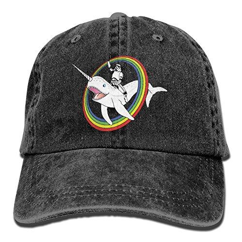 Rainbow Cowboy Hat (Badoufa Narwhal Rainbow Stormtrooper Unisex Washed Baseball Cap Adjustable Cowboy Cotton Ball Hat Black)