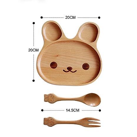Japonés, conejo, emociones y expresiones troncos Cartoon placa tenedor cuchara de cubertería PZ-