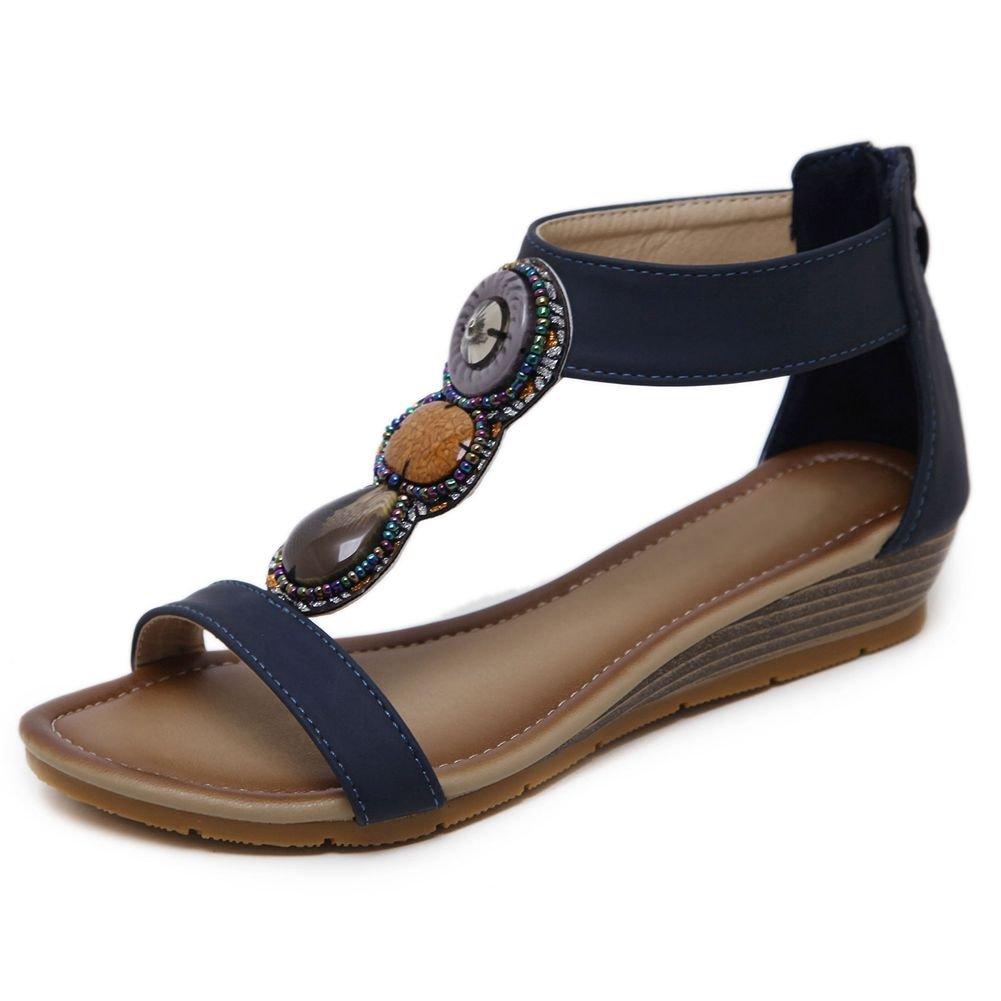 KingRover Women's Thong Wedge Heel Zip Sandals T-Strap Bohemian Rhinestone Slip On Flip Flops Shoes B07BNH1742 6 B(M) US|4dark Blue