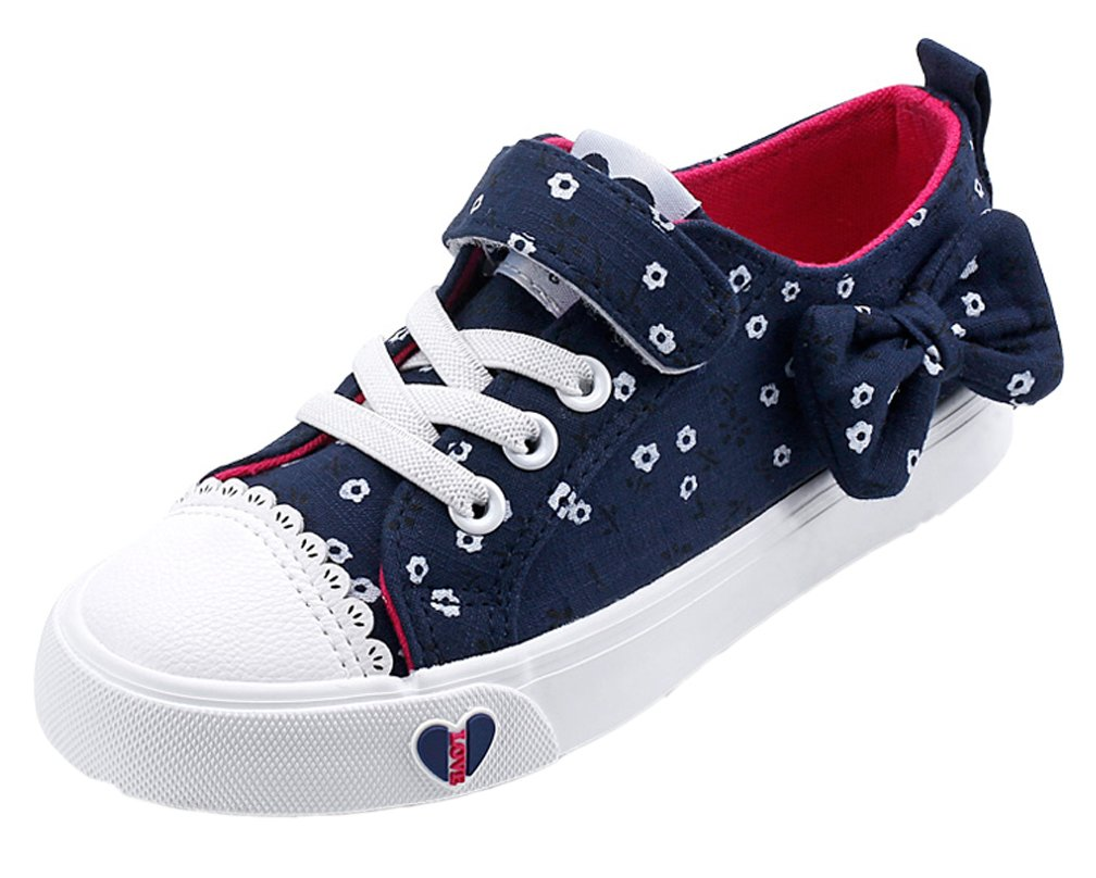 iDuoDuo Girls Low Top Flower Canvas Shoes Princess Flat Bow Strap Sneakers Blue 11 M US Little Kid