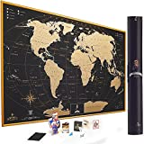 MyMap Gold Scratch Off Map of The World Wall Poster with US States Outlined, 35x25 Inches, Includes Pins, Buttons and Scratcher, Glossy Finish, Black with Vibrant Colors, Perfect Gift!