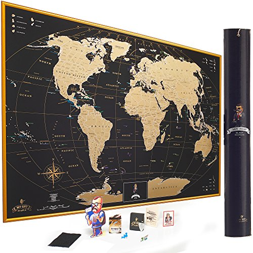 (MyMap Gold Scratch Off World Map Wall Poster with US States, 35x25 inches, Includes Pins, Buttons and Scratcher, Glossy Finish, Black with Vibrant Colors )