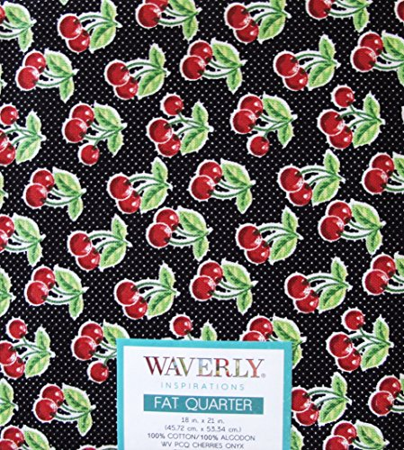 (SET 3 FAT QUARTERS CHERRY ~ CHERRIES 100% COTTON FABRIC ~ QUILTING, SEWING, CRAFTS)