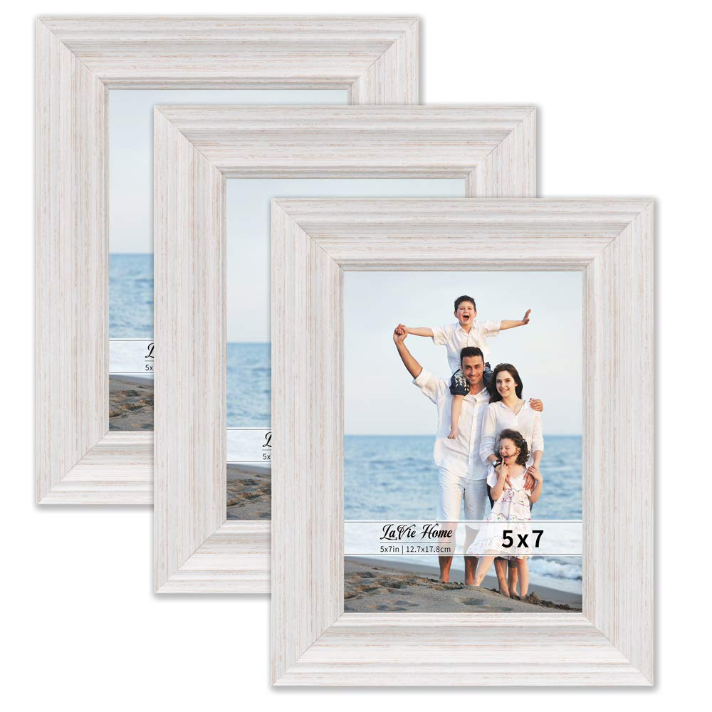LaVie Home 5x7 Picture Frames (3 Pack, White Wood Grain) Rustic Photo Frame Set with High Definition Glass for Wall Mount & Table Top Display