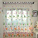 Grocery House Floral Butterfly Tulle Voile Door Balcony Window Curtain Drape Sheer Valances