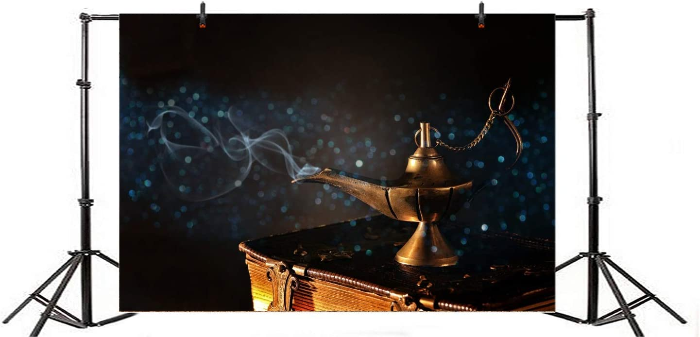 Aladdin and His Wonderful Lamp Backdrops 10x6.5ft Polyester Photography Backgrounds Magic Lamp Night Backdrop Old Legend Suit Case Scene Children Adult Photo Shooting Studio Props
