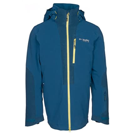 Columbia Powder Keg Down Mens Insulated Ski Jacket - Medium Phoenix Blue-Acid  Yellow 41326da43
