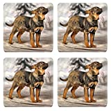 MSD Square Coasters Non-Slip Natural Rubber Desk Coasters design 33498159 crossbreed puppy on a winter background