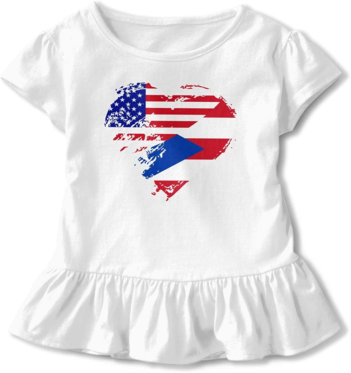 Puerto Rico American Heart Flag Kids Baby Girls Short Sleeve Graphic Shirts