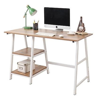 Beau Soges Computer Desk Trestle Desk Writing Home Office Desk Hutch Workstation  With Shelf, Oak 47