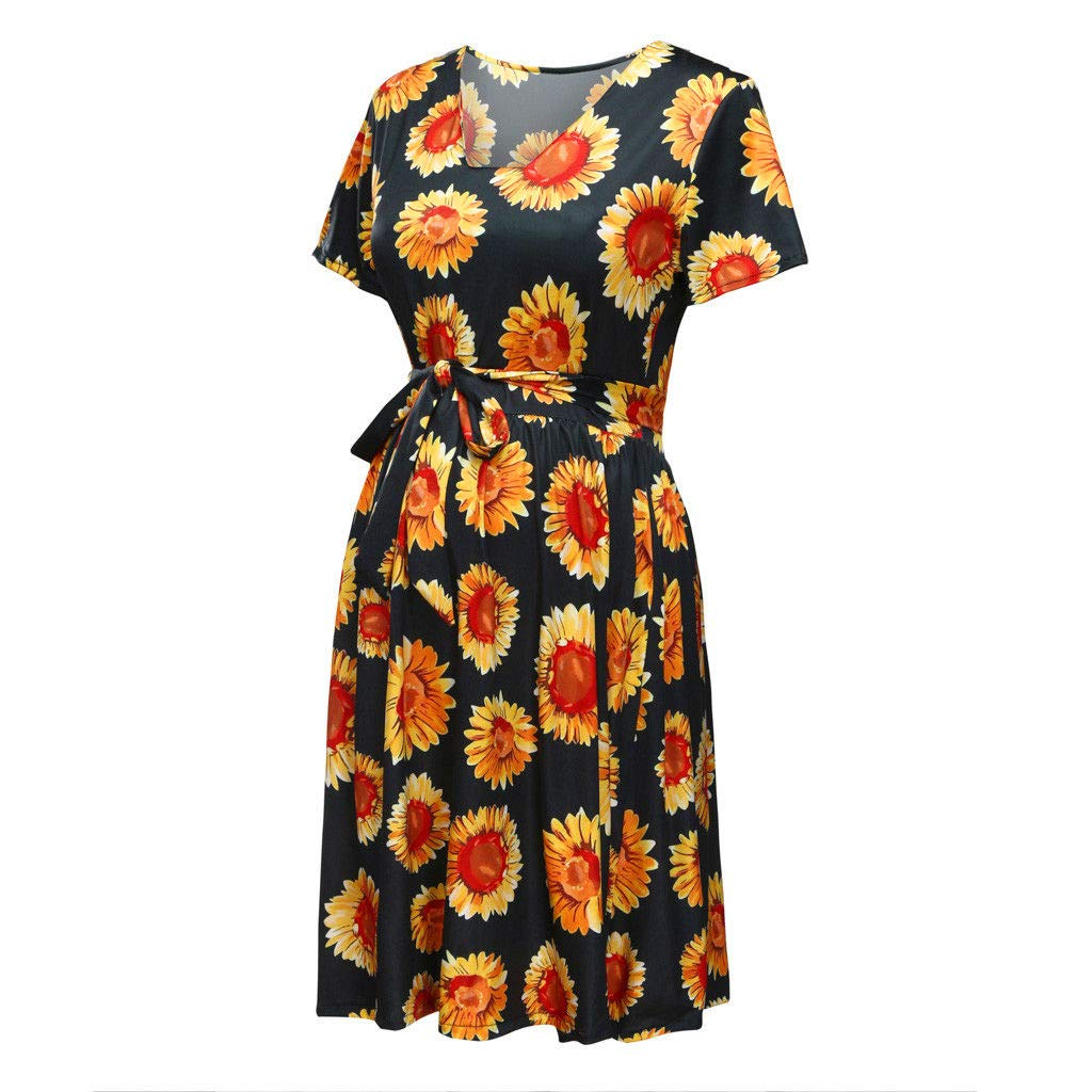 Mini Dresses for Women Maternity Sunflower Floral Print Short Sleeve Tie Waist Swing Pregnancy Baby Shower Dress