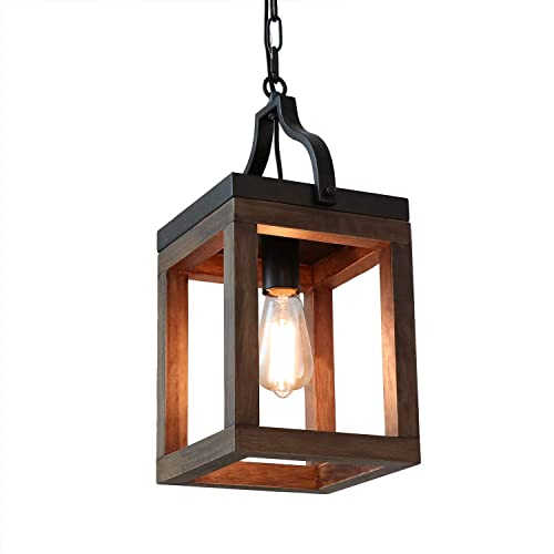 Anmytek Wood Metal Chandelier Rustic Industrial Style Rectangle Wood Frame Adjustable Chain Pendant Lighting E26 Base Bulb Hanging Light Kitchen Island Vintage Ceiling Light Fixture 1-Light P0046
