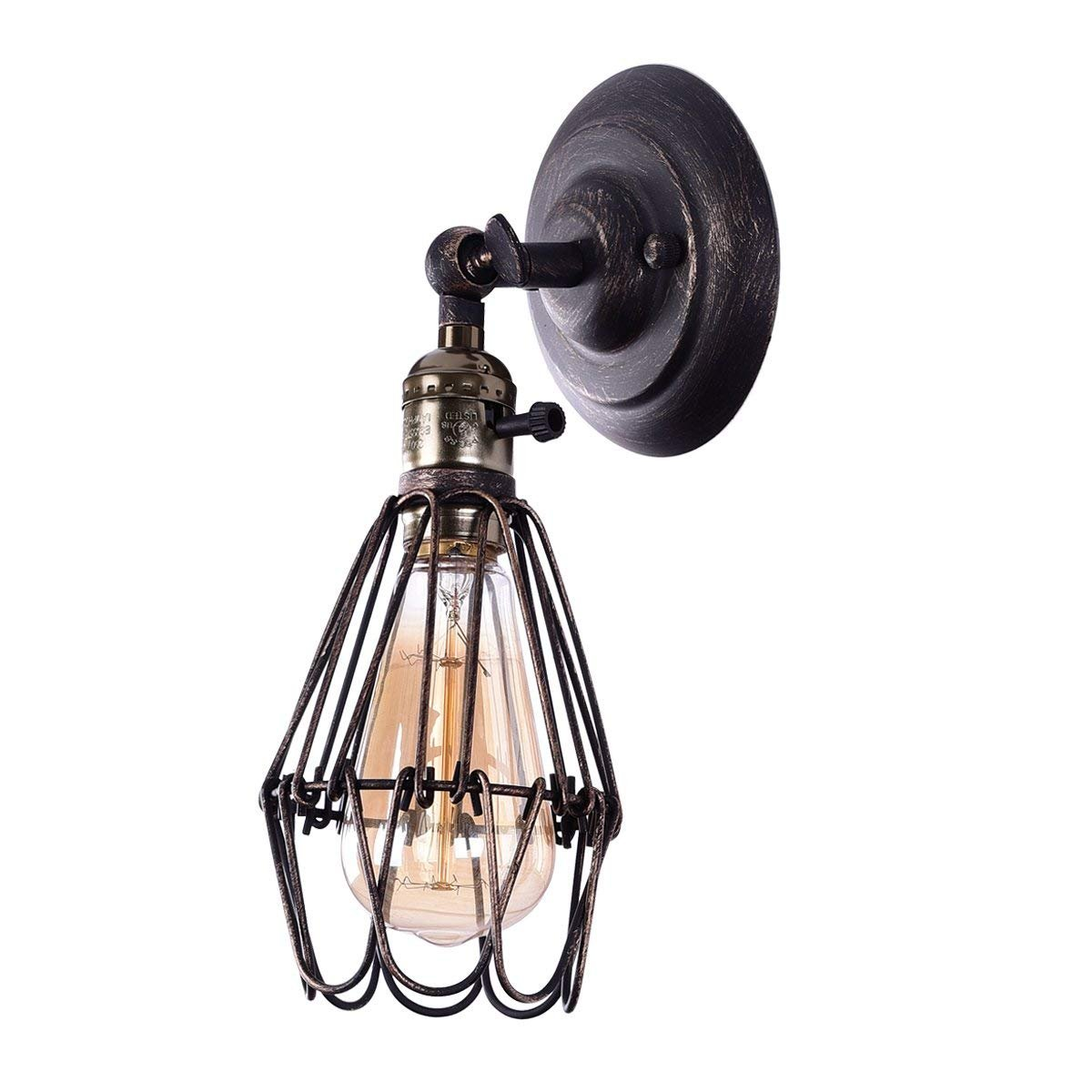 Wire Cage Wall Sconce Cmyk Led Dimmable Metal Industrial Light Room Ceiling Vintage Retro On Wiring Lights Shade Style Edison Mini Antique Fixture For Headboard Bedroom
