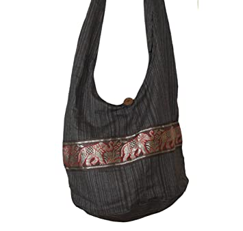 Amazon.com: Tonka Cotton Shoulder Bag Cotton Gold Elephant Print ...
