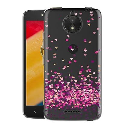 YUAN Funda para Motorola Moto C Plus Amor Rojo Transparente ...