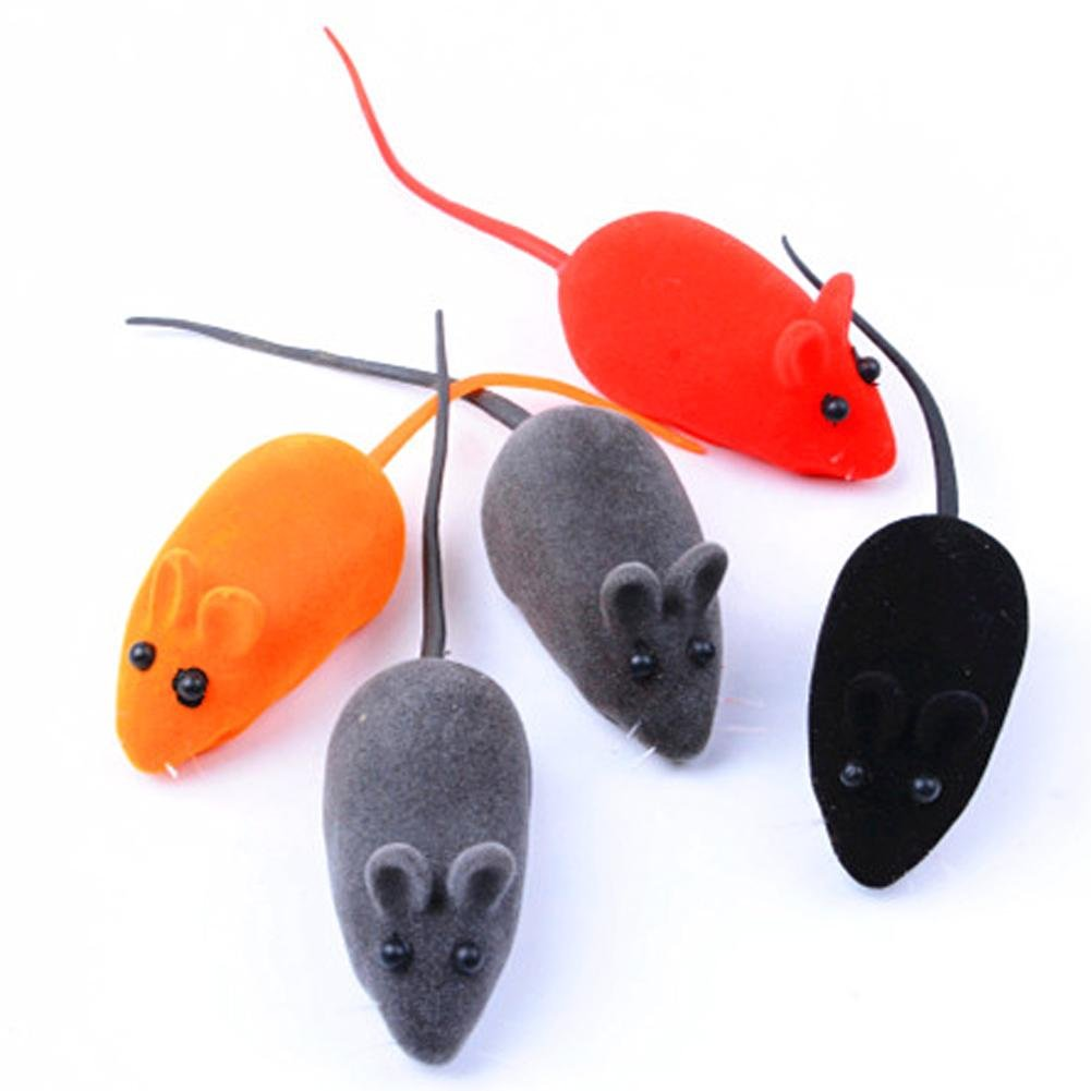 Demiawaking 10Pcs Cat Squeaky Mouse Sound Toys Cat Plush Chew Toys Interactive Fun Activity Play Toy for Cat Kitten