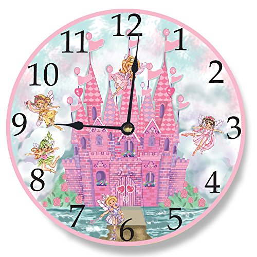 Stupell Home Décor Pink Castle Wall Clock, 12 x 0.4 x 12, Proudly Made in USA