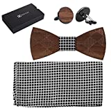 808 Ave. Wooden Bowtie Colors Wood Fabric for Animal Ties, Weddings, Prom, Christmas Parties & Galas, Adjustable Neck Band, Cool Conversation-Starter - Matching Pocket Square & Cufflink Set - Crossed