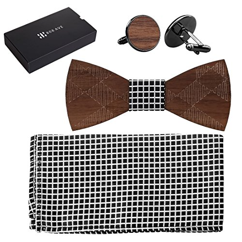 Traditional Conversation Set (808 Ave. Wooden Bowtie Colors Wood Fabric for Animal Ties, Weddings, Prom, Christmas Parties & Galas, Adjustable Neck Band, Cool Conversation-Starter - Matching Pocket Square & Cufflink Set - Crossed)