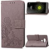 LG V20 Case,HAOTP Beauty Luxury Lucky Flowers Fashion Floral PU Flip Stand Credit Card ID Holders Wallet Leather Case Cover for LG V20(Gray)