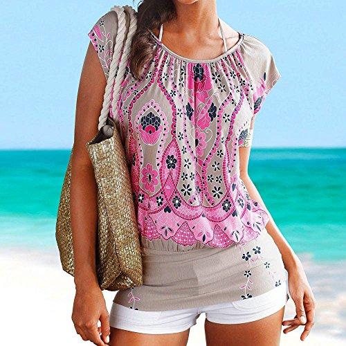 O Caldo Ginli Donna Da Rosa Bohemien StampataCasual Top Abito Corta neck O Stile Camicia Mini Spiaggia Di Manica XuPZlwiOkT