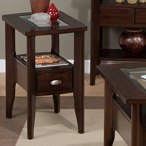Jofran 827 Series Chairside Table in Birch Veneers in Montego Merlot