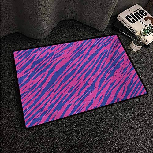(HCCJLCKS Modern Door mat Pink Zebra Retro Design Grunge Abstract Murky Zebra Stripes with Wavy 80s Style with Anti-Slip Support W31 xL47 Cobalt Blue Fuchsia)