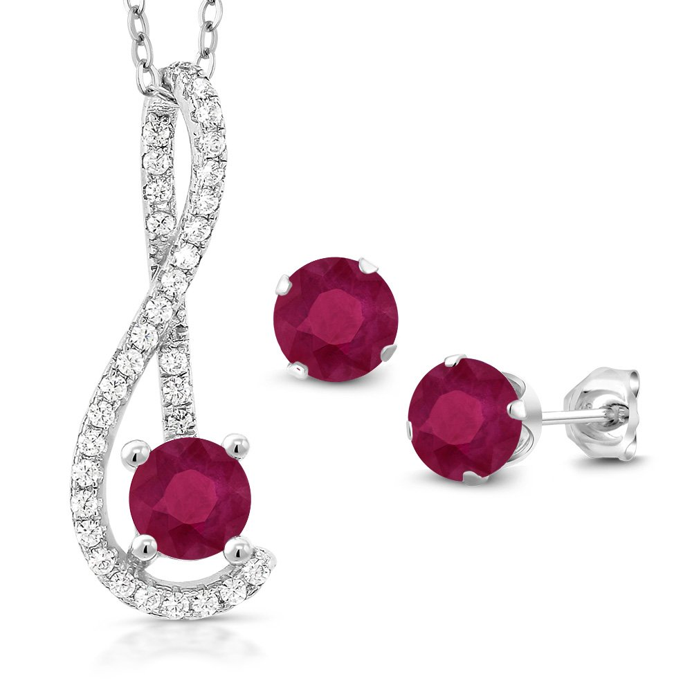 1.91 Ct Red Ruby White Created Sapphire 925 Sterling Silver Pendant Earrings Set