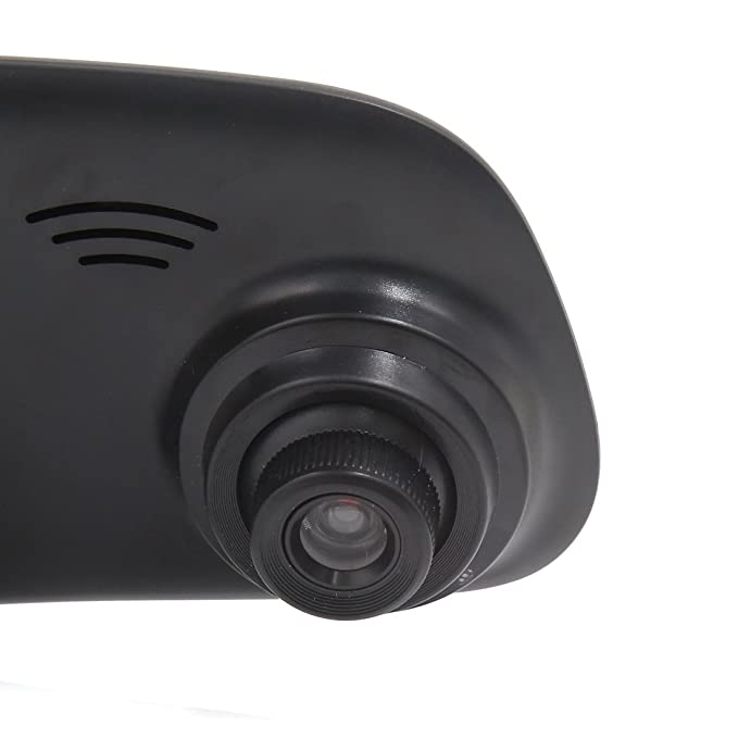 ... TFT LCD HD 1080P del coche DVR Espejo retrovisor Con cámara grabadora de vídeo Dash Cam Azul Soporte del G-Sensor de detección de movimiento y grabación ...