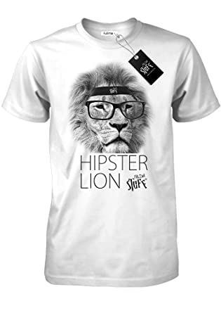 62eafe90ee795e Fulima-Stuff® HIPSTER LION - Weiss - Styled by Herren Shirt  Amazon ...