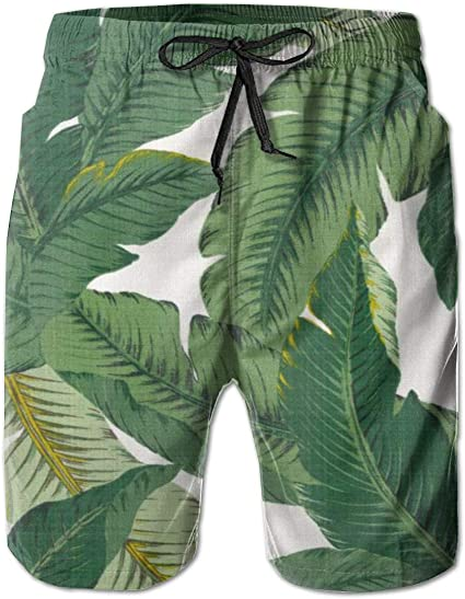 Printed Quick Dry Swimming Trunks Sportswear Beach Shorts LIXG Mens Tropical-Funny-Palm-Leaf